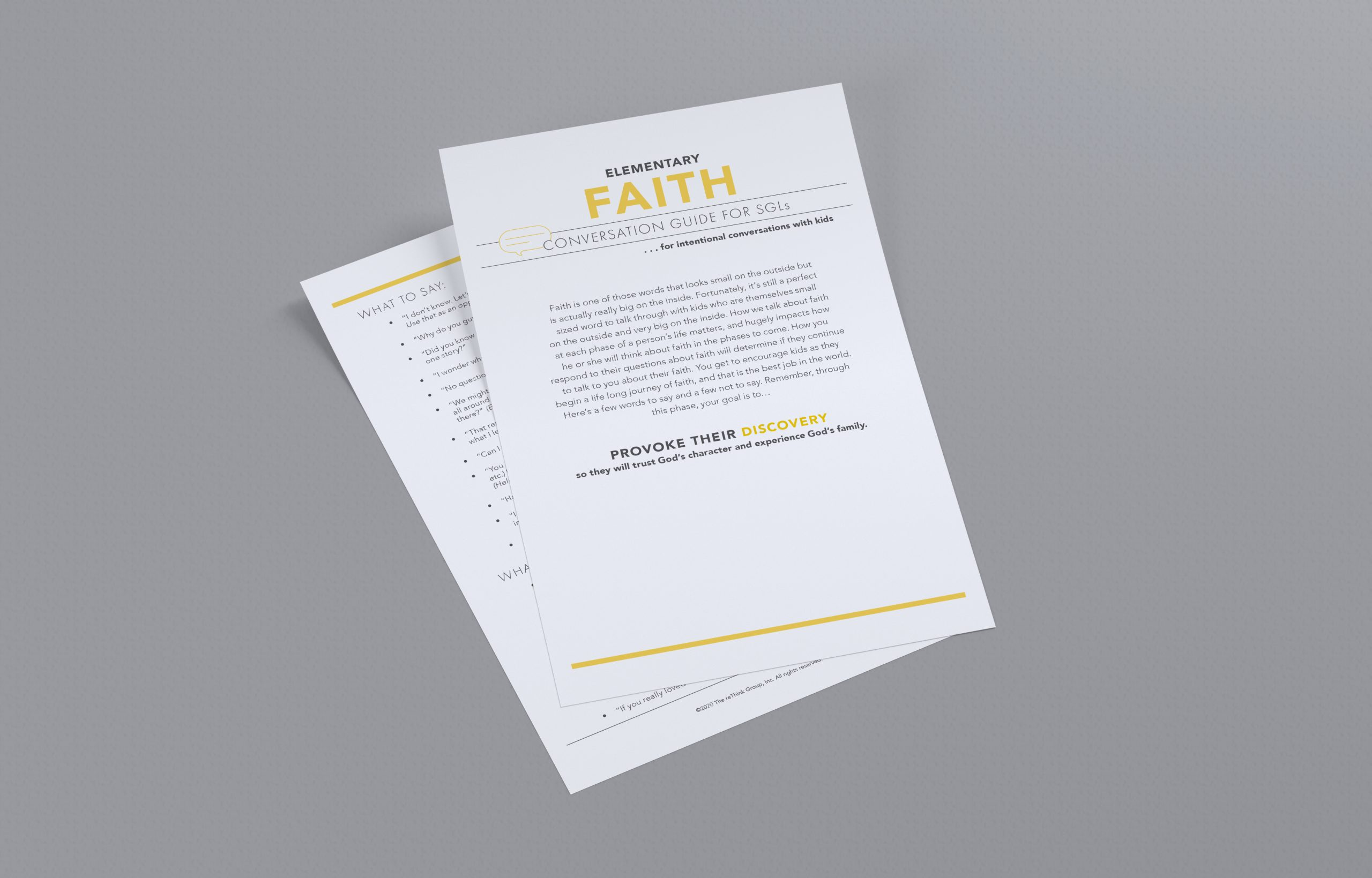 Small Group Leader Conversation Guide: Faith