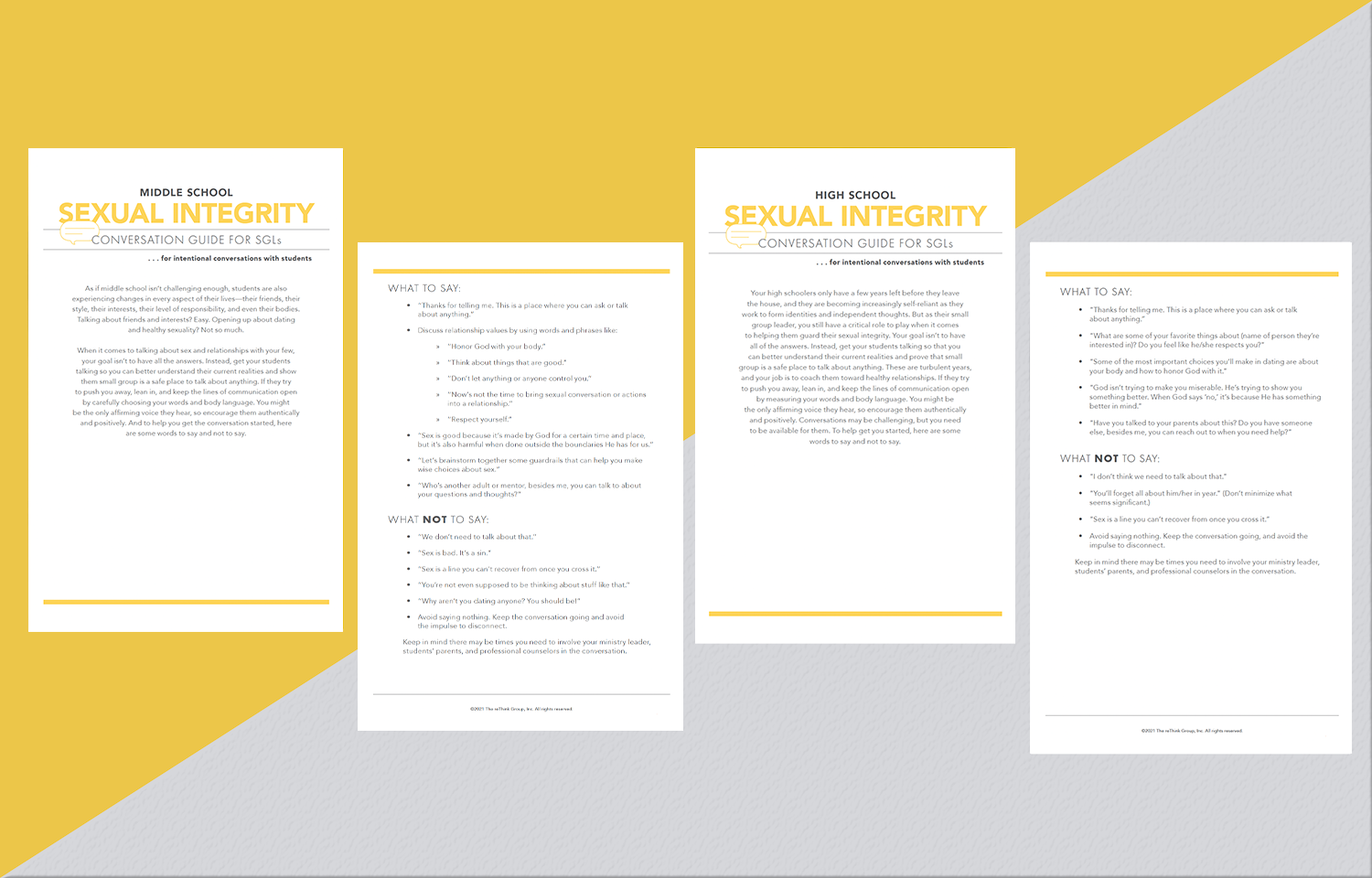 Student Small Group Leader Conversation Guides: Sexual Integrity